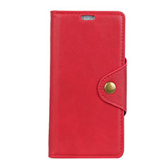 Leather Case Stands Flip Cover L01 Holder for Alcatel 7 Red