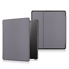 Leather Case Stands Flip Cover L01 Holder for Amazon Kindle Oasis 7 inch Gray