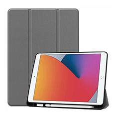 Leather Case Stands Flip Cover L01 Holder for Apple iPad 10.2 (2020) Gray