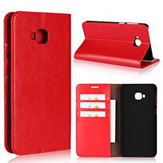 Leather Case Stands Flip Cover L01 Holder for Asus Zenfone 4 Selfie Pro Red