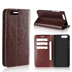Leather Case Stands Flip Cover L01 Holder for Asus Zenfone 4 ZE554KL Brown
