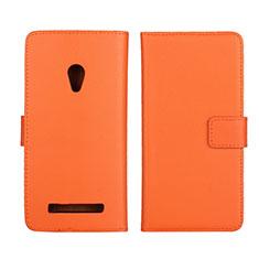 Leather Case Stands Flip Cover L01 Holder for Asus Zenfone 5 Orange