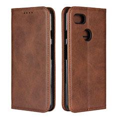 Leather Case Stands Flip Cover L01 Holder for Google Pixel 3 Brown