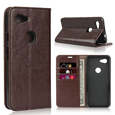 Leather Case Stands Flip Cover L01 Holder for Google Pixel 3a XL Brown
