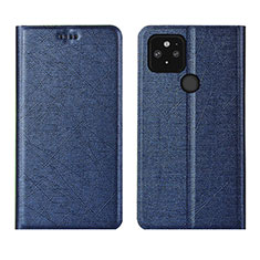 Leather Case Stands Flip Cover L01 Holder for Google Pixel 5 Blue