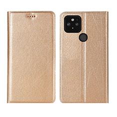 Leather Case Stands Flip Cover L01 Holder for Google Pixel 5 Gold