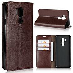 Leather Case Stands Flip Cover L01 Holder for LG G7 Brown