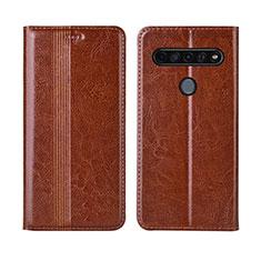 Leather Case Stands Flip Cover L01 Holder for LG K41S Light Brown