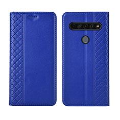 Leather Case Stands Flip Cover L01 Holder for LG K51S Blue