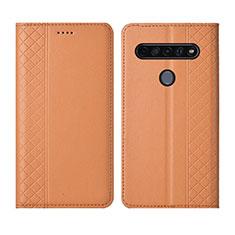 Leather Case Stands Flip Cover L01 Holder for LG K51S Orange