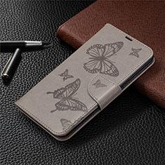 Leather Case Stands Flip Cover L01 Holder for LG K61 Gray