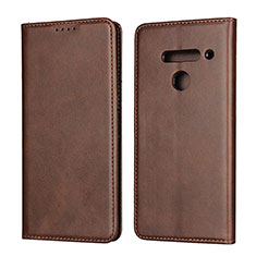 Leather Case Stands Flip Cover L01 Holder for LG V50 ThinQ 5G Brown
