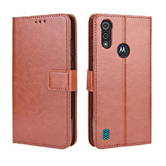 Leather Case Stands Flip Cover L01 Holder for Motorola Moto E6s (2020) Brown