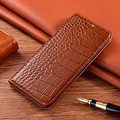 Leather Case Stands Flip Cover L01 Holder for Motorola Moto E7 Plus Light Brown