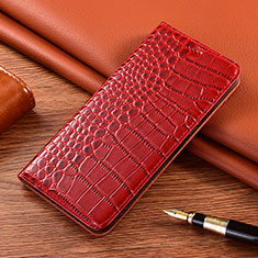 Leather Case Stands Flip Cover L01 Holder for Motorola Moto E7 Plus Red