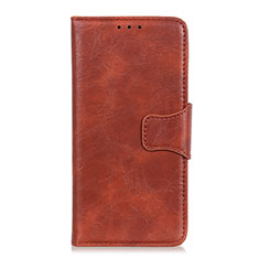Leather Case Stands Flip Cover L01 Holder for Motorola Moto Edge Brown
