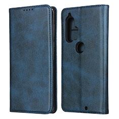 Leather Case Stands Flip Cover L01 Holder for Motorola Moto Edge Plus Blue