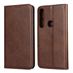 Leather Case Stands Flip Cover L01 Holder for Motorola Moto G8 Play Brown