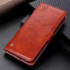 Leather Case Stands Flip Cover L01 Holder for Motorola Moto G9 Power Light Brown