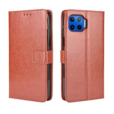 Leather Case Stands Flip Cover L01 Holder for Motorola Moto One 5G Brown