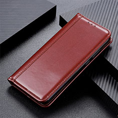 Leather Case Stands Flip Cover L01 Holder for Motorola Moto One Fusion Brown
