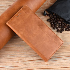Leather Case Stands Flip Cover L01 Holder for Motorola Moto One Zoom Brown