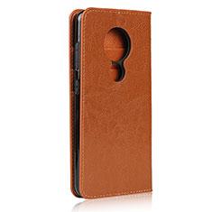 Leather Case Stands Flip Cover L01 Holder for Nokia 7.2 Orange
