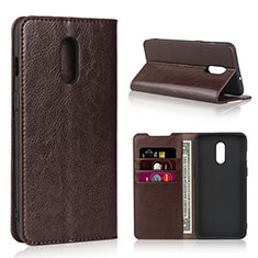 Leather Case Stands Flip Cover L01 Holder for OnePlus 7 Brown