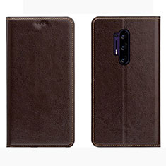 Leather Case Stands Flip Cover L01 Holder for OnePlus 8 Pro Brown