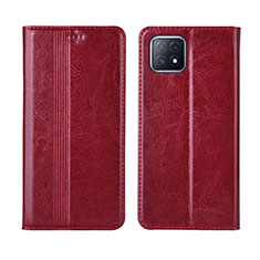 Leather Case Stands Flip Cover L01 Holder for Oppo A72 5G Red Wine