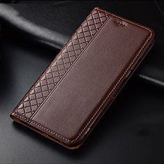 Leather Case Stands Flip Cover L01 Holder for Oppo Find X2 Brown
