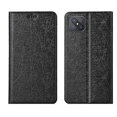 Leather Case Stands Flip Cover L01 Holder for Oppo Reno4 Z 5G Black