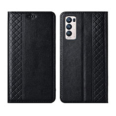 Leather Case Stands Flip Cover L01 Holder for Oppo Reno5 Pro+ Plus 5G Black