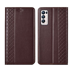Leather Case Stands Flip Cover L01 Holder for Oppo Reno5 Pro+ Plus 5G Brown