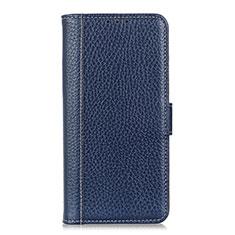 Leather Case Stands Flip Cover L01 Holder for Realme 5 Pro Blue