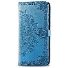 Leather Case Stands Flip Cover L01 Holder for Realme 6i Blue