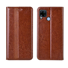 Leather Case Stands Flip Cover L01 Holder for Realme C15 Light Brown