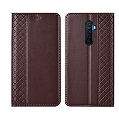 Leather Case Stands Flip Cover L01 Holder for Realme X2 Pro Brown
