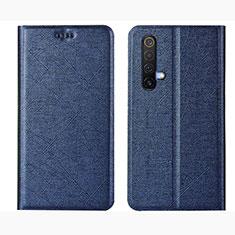 Leather Case Stands Flip Cover L01 Holder for Realme X3 SuperZoom Blue