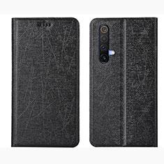 Leather Case Stands Flip Cover L01 Holder for Realme X50 5G Black