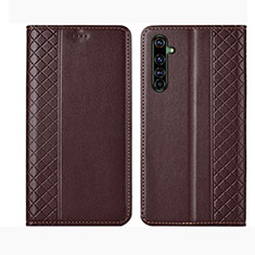 Leather Case Stands Flip Cover L01 Holder for Realme X50 Pro 5G Brown