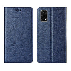 Leather Case Stands Flip Cover L01 Holder for Realme X7 Pro 5G Blue
