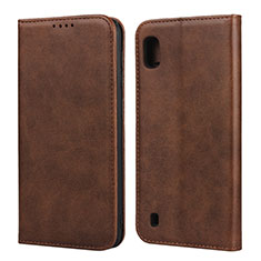 Leather Case Stands Flip Cover L01 Holder for Samsung Galaxy A10 Brown