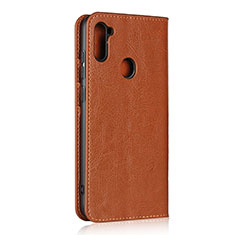 Leather Case Stands Flip Cover L01 Holder for Samsung Galaxy A11 Light Brown