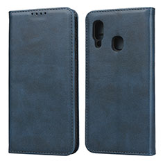 Leather Case Stands Flip Cover L01 Holder for Samsung Galaxy A20e Blue