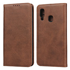 Leather Case Stands Flip Cover L01 Holder for Samsung Galaxy A20e Brown