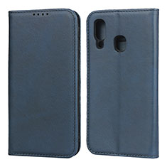 Leather Case Stands Flip Cover L01 Holder for Samsung Galaxy A40 Blue