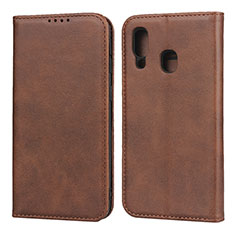 Leather Case Stands Flip Cover L01 Holder for Samsung Galaxy A40 Brown