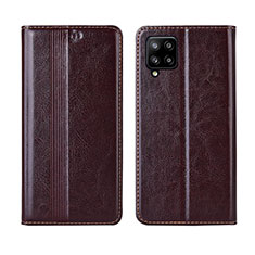 Leather Case Stands Flip Cover L01 Holder for Samsung Galaxy A42 5G Brown