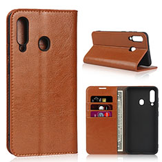 Leather Case Stands Flip Cover L01 Holder for Samsung Galaxy A60 Orange